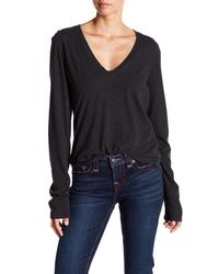 James Perse - Gray Refined Melange Jersey V-neck Tee - Lyst