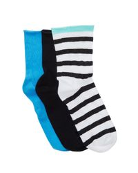 Hue - Multicolor Roll Top Shortie Socks - Pack Of 3 for Men - Lyst
