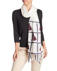 Tory Burch - Blue Sailboat Embroidered Oblong Scarf - Lyst