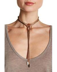 Jenny Packham - Natural Crystal Pendant & Pave Bar Ribbon Wrapped Choker - Lyst