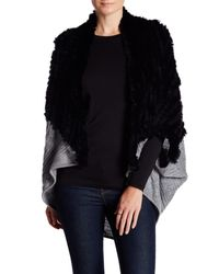 La Fiorentina - Black Cable Knit Genuine Fur Cocoon Cardigan - Lyst
