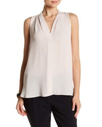 Vince Camuto - Pink Pleated V-neck Tank - Lyst