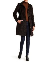 Via Spiga - Black Funnel Collar Muted Leopard Print Faux Leather Trim Coat - Lyst