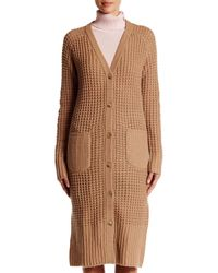Lands' End - Brown Long Wool Blend Cardigan - Lyst