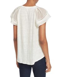 Rebecca Taylor - White Pleat Short Sleeve Mixed Media Top - Lyst