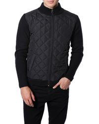 7 Diamonds - Black 'gatti' Quilted Panel Lambswool Knit Jacket for Men - Lyst