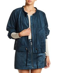 BCBGMAXAZRIA - Blue Faux Suede Raglan Sleeve Jacket - Lyst