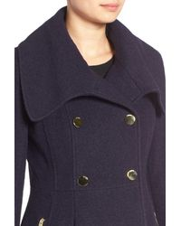 Guess - Blue Envelope Collar Double Breasted Coat - Lyst