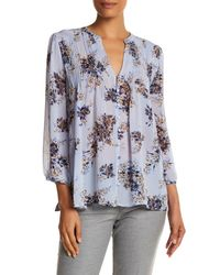 Joie | Blue Long Sleeve Floral Silk Pleat Blouse | Lyst
