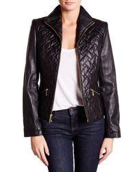 Cole Haan | Black Zip Front Genuine Leather Jacket | Lyst