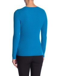 In Cashmere - Blue Cable Knit Cashmere Sweater - Lyst