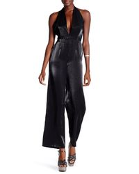 TOPSHOP | Blue Halter Neck Satin Jumpsuit | Lyst