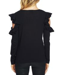 Cece by Cynthia Steffe - Black Ruffled Cold Shoulder Tee - Lyst