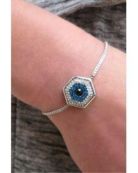 Liza Schwartz - Metallic Crystal Evil Eye Drawstring Bracelet - Lyst