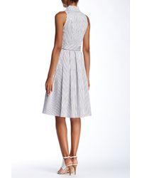 Julia Jordan - Multicolor Pinstripe Sleeveless Shirt Dress - Lyst