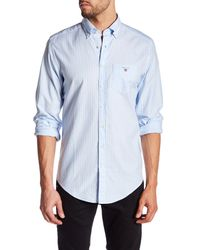 GANT   Blue Fairway Oxford Breton Regular Fit Shirt for Men   Lyst