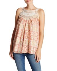 Joie | Pink Bayard Crocheted Lace Trim Silk Tank | Lyst