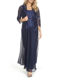 Alex Evenings - Blue Embroidered Gown & Jacket (regular & Petite) - Lyst