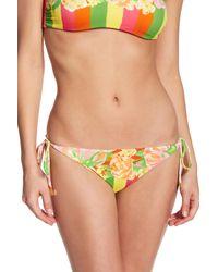 Versace - Multicolor Floral & Colorblock Stripe Side Tie Bikini Bottoms - Lyst