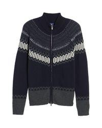Gant - Blue 02 Lambswool & Cashmere Fair Isle Zip Front Cardigan for Men - Lyst