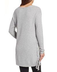Caslon - Gray (r) Side Tie Seed Stitch Tunic Top (regular & Petite) - Lyst