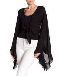 Haute Rogue - Black Flare Sleeve Tie Crop Top - Lyst