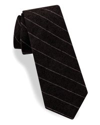 Ted Baker   Black Stripe Silk & Cotton Skinny Tie for Men   Lyst