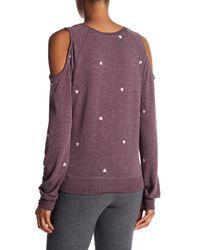 David Lerner - Purple Heart Embroidery Cold Shoulder Sweatshirt - Lyst