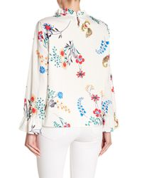 Haute Rogue - White Floral Long Sleeve Top - Lyst