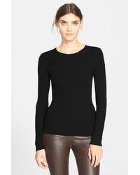 Theory - Black Mirzi Rib Knit Merino Wool Sweater - Lyst