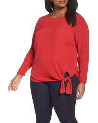 Sejour - Red Side Tie Blouse (plus Size) - Lyst