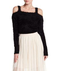 BB Dakota - Black Fuzzy Knit Cropped Cold Shoulder Sweater - Lyst