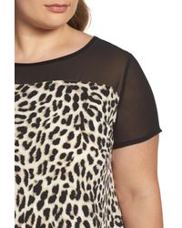 Vince Camuto | Black Leopard Song Mixed Media Top | Lyst