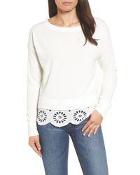 Caslon - White (r) Eyelet Trim Sweatshirt - Lyst