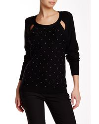 Tracy Reese | Black Sparkle Embellished Cutout Pullover | Lyst
