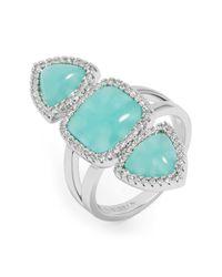 BaubleBar - Blue Trinity Stone & Halo Set Crystal Ring - Lyst