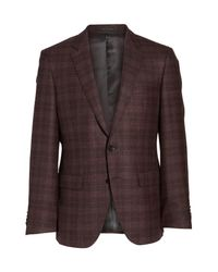BOSS - Brown T-heel Trim Fit Plaid Wool & Silk Sport Coat for Men - Lyst
