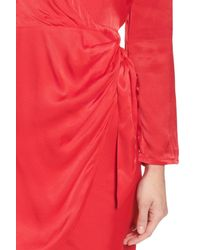 Bardot - Red Satin Wrap Dress - Lyst