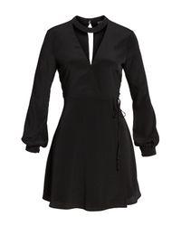 Lush - Black Choker Neck Wrap Dress - Lyst