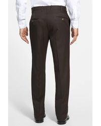 JB Britches - Brown Flat Front Worsted Wool Trousers for Men - Lyst