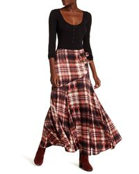 Free People | Black Front Belt Buckle Maxi Print Skirt | Lyst