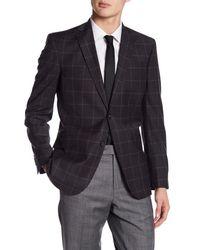 Ted Baker - Jarrett Gray Windowpane Two Button Notch Lapel Wool Trim Fit Sport Coat for Men - Lyst