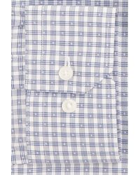 Calibrate - Blue Trim Fit Non-iron Stretch Check Dress Shirt for Men - Lyst