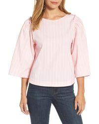 Halogen - Pink Bell Sleeve Stripe Blouse - Lyst