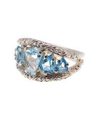 Stephen Dweck | Metallic Sterling Silver Freeform Blue Topaz Cutout Ring - Size 7 | Lyst