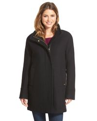 Ellen Tracy - Black Wool Blend Stadium Coat (regular & Petite) - Lyst