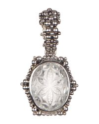 Stephen Dweck - Metallic Sterling Silver Oval-cut Crystal Carved Flower Halo Pendant - Lyst