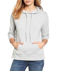 Caslon - Gray Caslon Woven Inset Knit Hoodie - Lyst