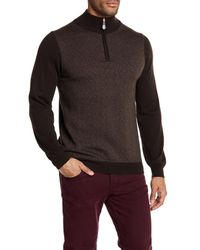 Bugatchi - Brown Wool Chevron Pullover Sweater for Men - Lyst