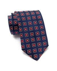 BOSS - Blue Silk Stamp Tie for Men - Lyst